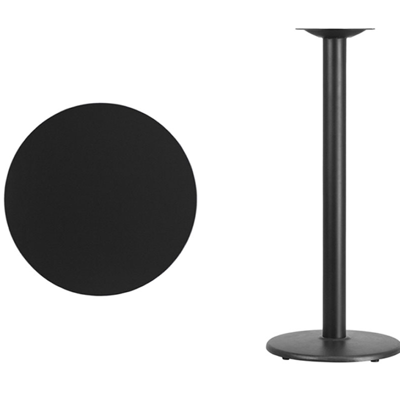Flash Furniture 24'' Round Black Laminate Table Top with 18'' Round Bar Height Table Base [863-XU-RD-24-BLKTB-TR18B-GG] virginia cavaliers l211 42 tall logo pub table by holland bar stool company with black wrinkle base and 28 table top diameter