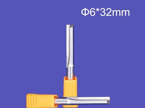 Retos do Entalhe das Flautas Cortadores de Madeira Contínuo do Roteador do Cnc do Foma do Carboneto Pces Dois Bits Dobro Bocado 5 6*32mm