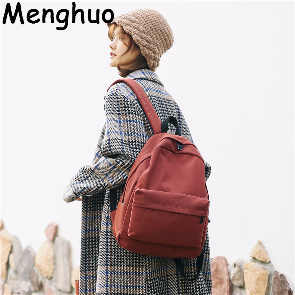 Menghuo Women Canvas Backpack Solid Casual School Bag For Teenagers Boys Backpack Korean Preppy Style Rucksack Mochilas Feminina