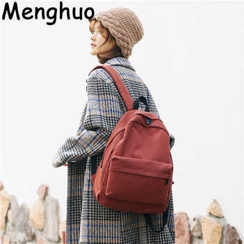 Menghuo Women Canvas Backpack Solid Casual School Bag for Teenagers Boys Backpack Korean Preppy Style Rucksack Mochilas Feminina - DISCOUNT ITEM  50% OFF All Category