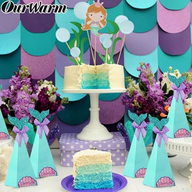 OurWarm 10 pcs Caixas Dos Doces Pequena Sereia Tema Fontes Do Partido Da Sereia Sereia DIY Caixa de Presente Para As Crianças de Aniversário Favor Do Casamento