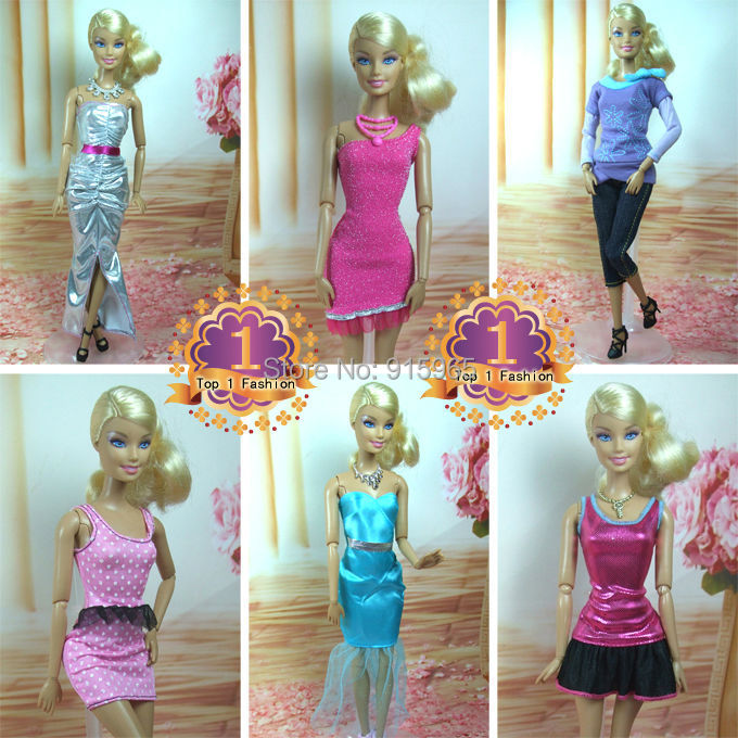 Free transport 18gadgets=6dress+6 sneakers+eight equipment doll's occasion costume material swimsuit sneakers play set For barbie doll