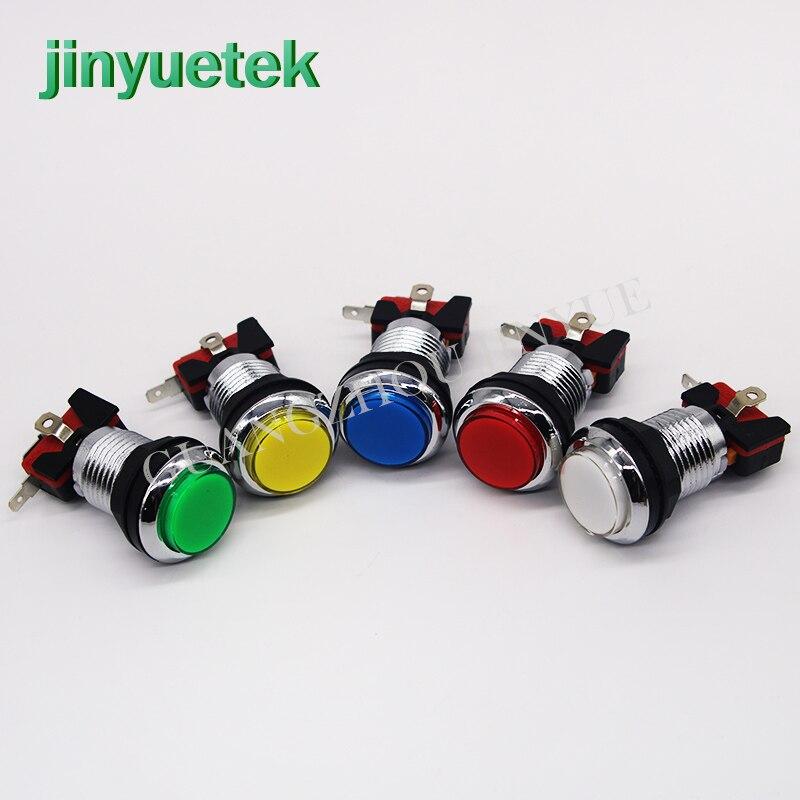 33mm LED Licht Lampe Arcade push button kleine Runde Arcade Video Game Player Taster + mikroschalter + stents 5 farbe
