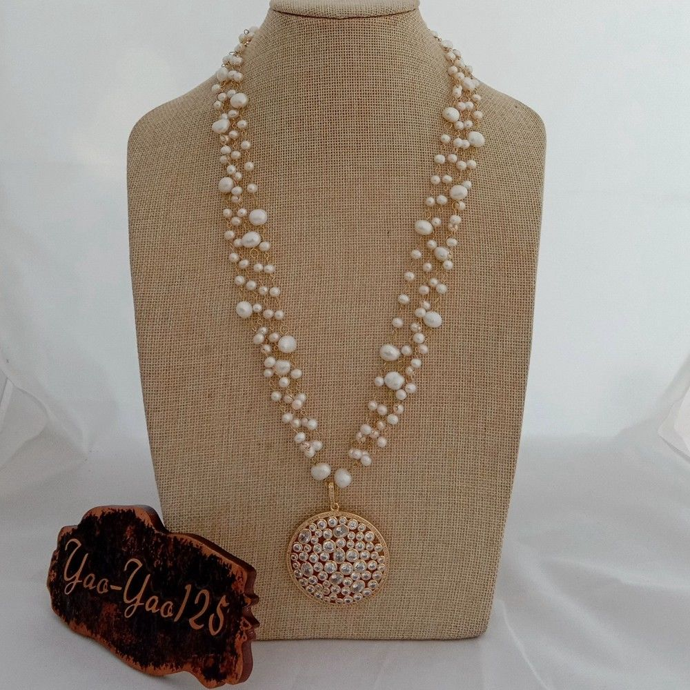 N022955 25'' 4 Rows White Pearl Chain Necklace 50MM Cz Pave Pendant