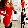 Hot Sexy Новая 2016 Женщины Лето Dress Длинным Рукавом Крест Драпированные Ladies Night Club Dress Bodycon Нерегулярные Мини-Платья Vestidos