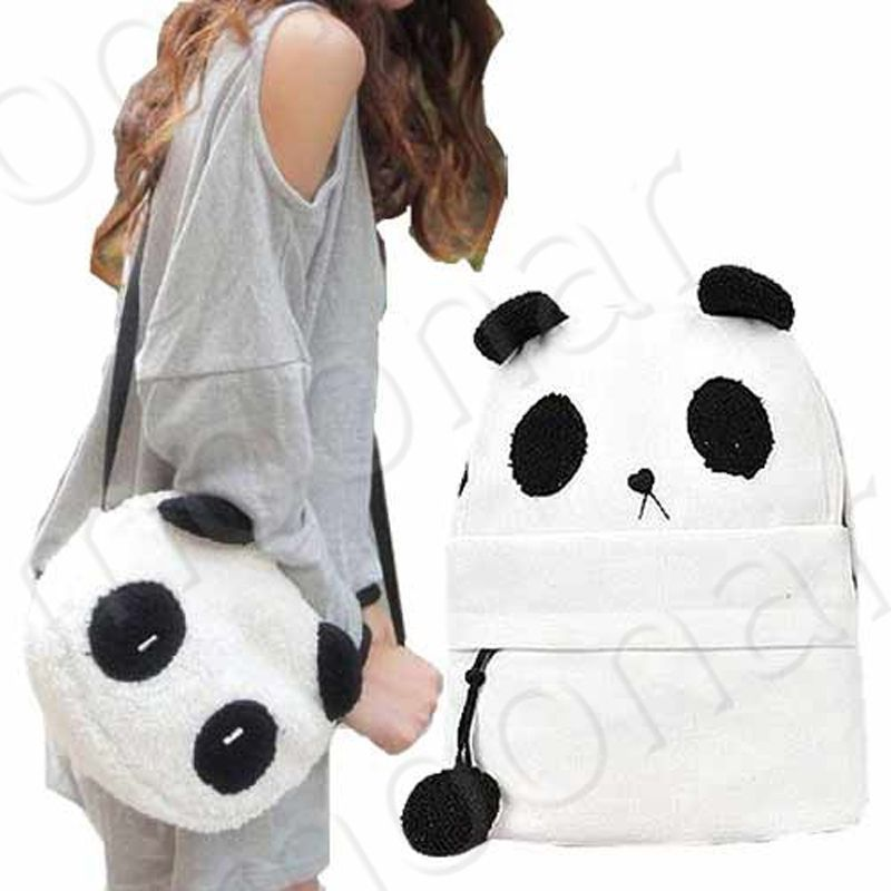 2PCS Backpack & Shoulder Bag Set, Fashion Women Bag Cute Panda ...