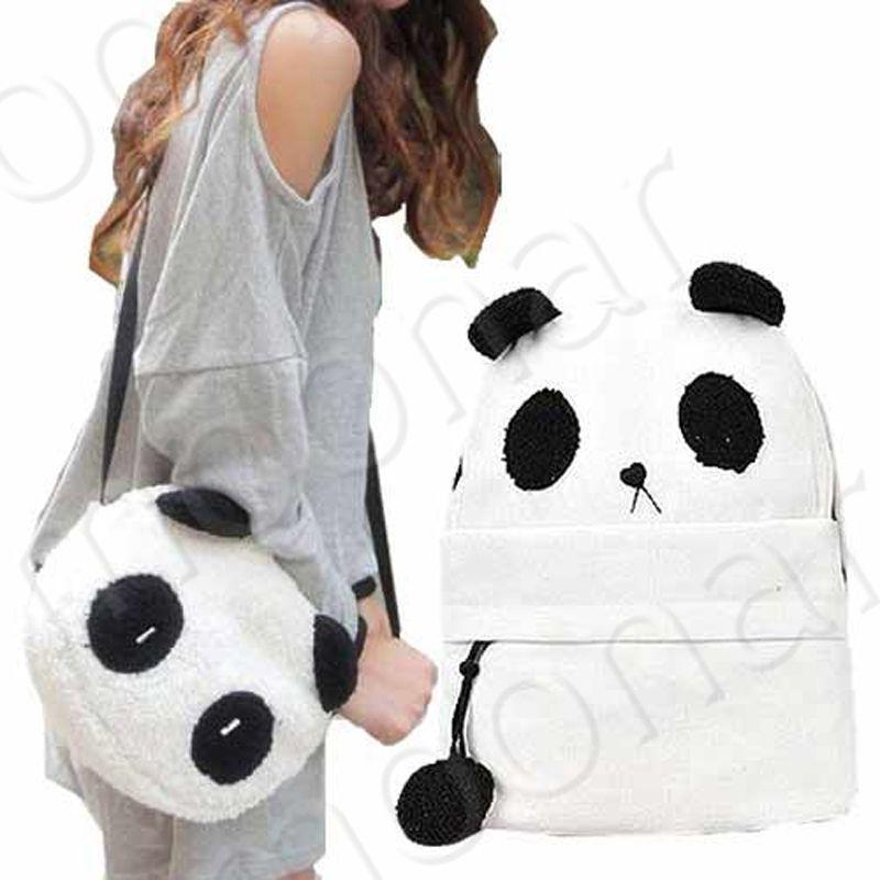 2PCS Backpack & Shoulder Bag Set, Fashion Women Bag Cute Panda ...