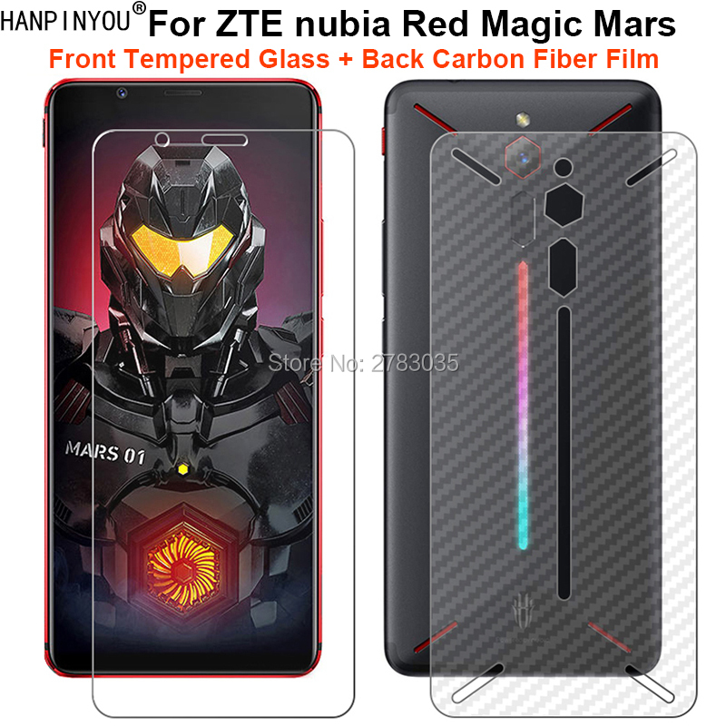 For ZTE Nubia Red Magic Mars 1 Set= Soft Back Carbon Fiber Film + Ultra Thin Clear Premium Tempered Glass Front Screen Protector
