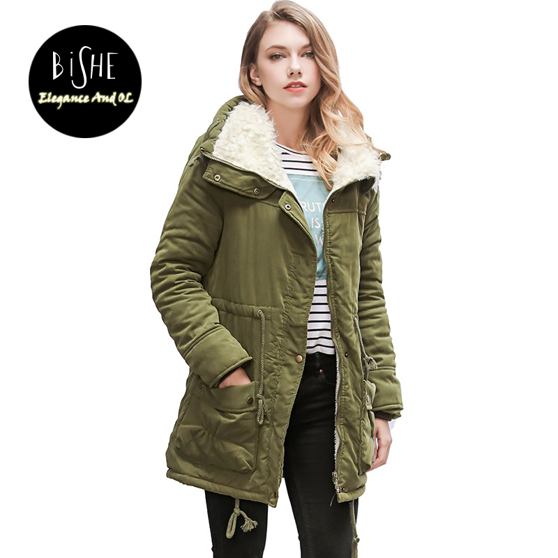 BiSHE 2017 New Thick Femme Outwear Cotton Winter Jacket Plus Size Parkas Female Parkas for Women Winter Warm Coat Woman Clothes new women parkas jacket winter warm cotton padded coats plus size cold resistance lambswool outwear woman s thick long coat