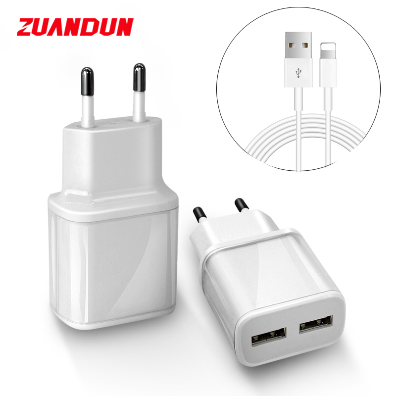 Dual Ports EU Plug USB Charger Travel Portable Wall Charging Adapter For iPhone X 8 7 6 Android Charging Phone Cable For Samsung