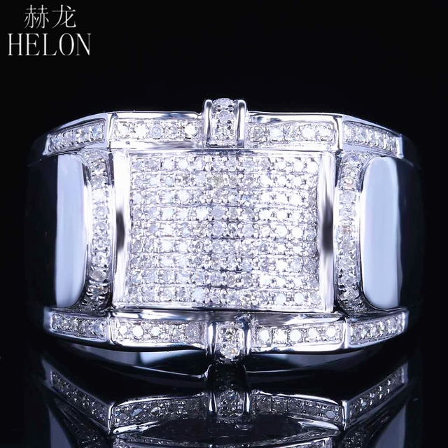 HELON Gift Real Natural Diamonds Wedding Men's Band Ring Designer Fashion Band Pinky Ring Fine Jewelry Sterling Silver 925