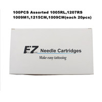 100PCS Round Liner Shader Magum Assorted Size EZ Cartridges Tattoo Needle KITS for Cartridge System Rotary Tattoo Machine