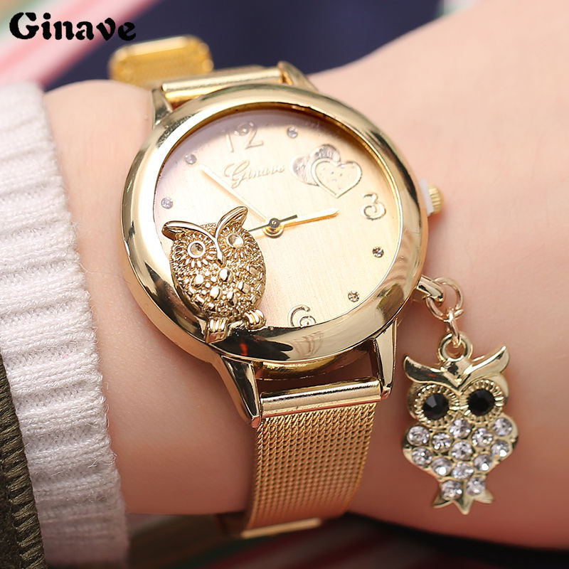 Owl Pendant Women Wrist Watches Quartz GINAVE Brand Fashion Stainless Steel Mesh Belt Ladies Wristwatch Female Clock Owl Relogi