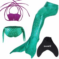 New Kids Sparkle Mermaid Tail Swimsuit With Flipper For Girls Swimming Costume Pants Purple Bra