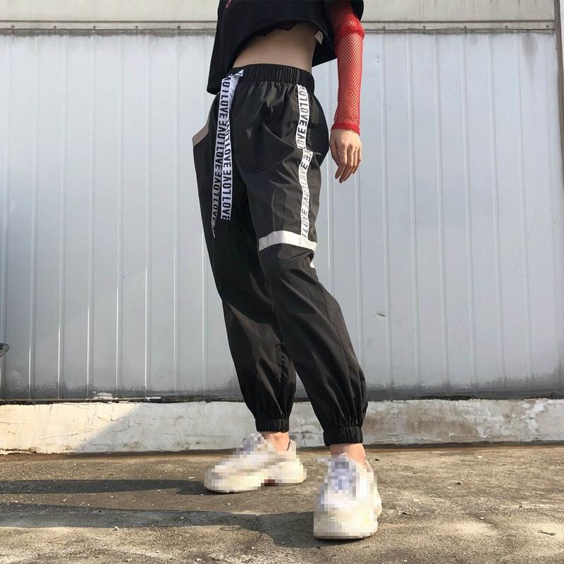 סתיו נשים הרמון מכנסיים אופנה ניגודיות צבע מכתב חגורת גבוה מותניים מכנסי קז'ואל Loose אלסטיים מותן ספורט מכנסיים
