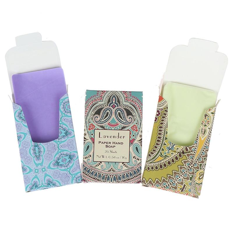 25pcs/pack Portable Travel Soap Paper Washing Hand Bath Clean Scented Slice Sheets Disposable Boxe Soap Mini Paper Soap Random