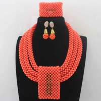 Luxurious Orange Coral Beads Jewelry Sets Handmade African Wedding Bridal Women Beads Necklace Jewelry Set Free