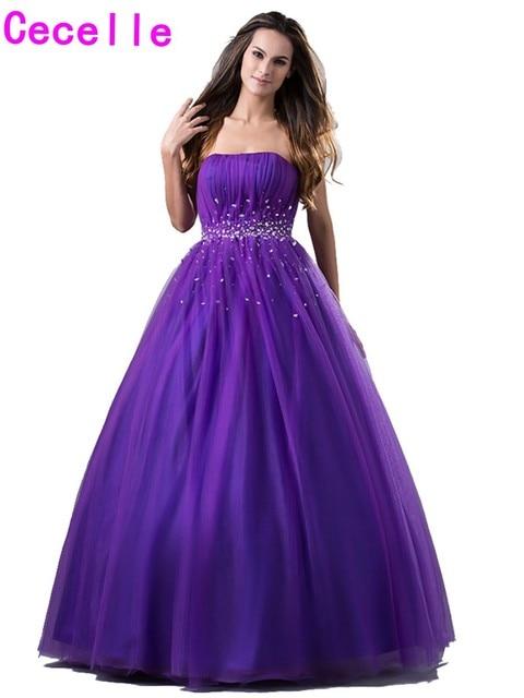 1a3b96dd526cb Glamour violet robe de bal Tulle robes de bal sans bretelles perles  cristaux Simple filles formelle