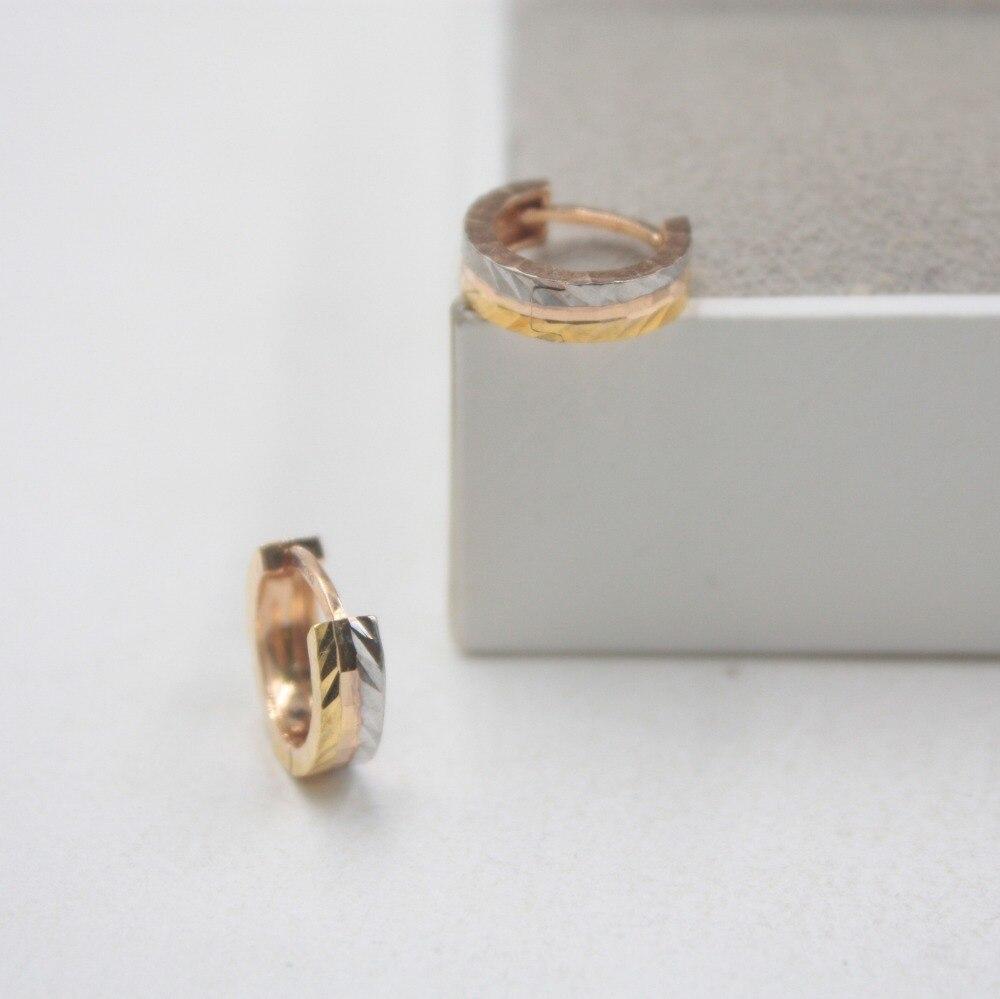 Pur 18 K multi-tons or mode petites boucles d'oreilles personnalisé demoiselles d'honneur cadeau mignon boucles d'oreilles 2-2.3g bijoux de tous les jours - 4