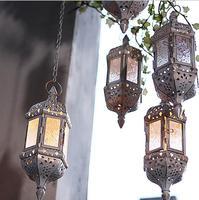 Vintage Metal Hollow Glass Moroccan Hanging Tea Light Holder Decorative Lantern Matching Block Candle Small Tealight