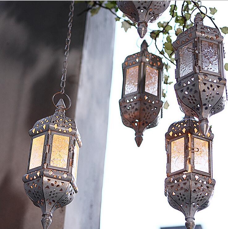 Hanging Candle Lanterns Flower Tower Lantern Wedding: Vintage Metal Hollow Glass Moroccan Hanging Tea Light