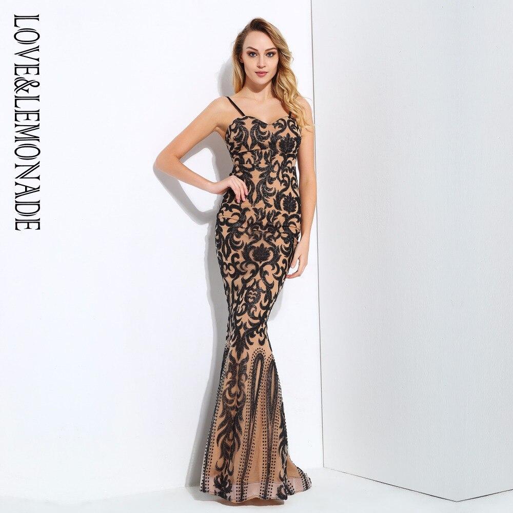 Love Lemonade Black Nude Color Geometry Glitter V Collar Long Dresses LM0685
