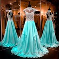 Popular Aqua Prom Dresses with Short Sleeve Illusion High Neckline Beaded Appliques Chifffon Draped Long Prom Dress Custom Made