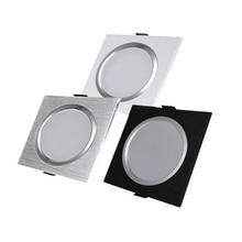 Светодиодный квадратный светильник 3 Вт 5 Вт 7 Вт 12 Вт Серебристый Белый Черный AC110V 220 В светодиодный потолочный светильник для кухни/дома/Внутреннее освещение служебных помещений