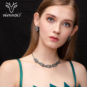Image 1 - Viennois moda conjunto de jóias para mulher colorido zircônia colar e brincos conjunto de jóias moda conjunto de jóias para mulher