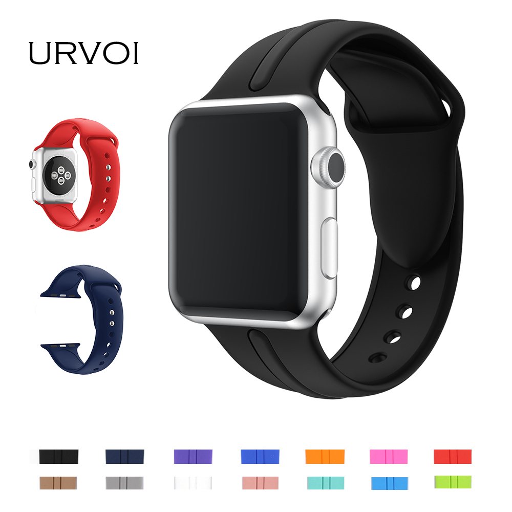 URVOI Sport band for apple watch series 1 2 band Ultraman silicone strap for iWatch workout colors with pin and tuck closure eache silicone watch band strap replacement watch band can fit for swatch 17mm 19mm men women