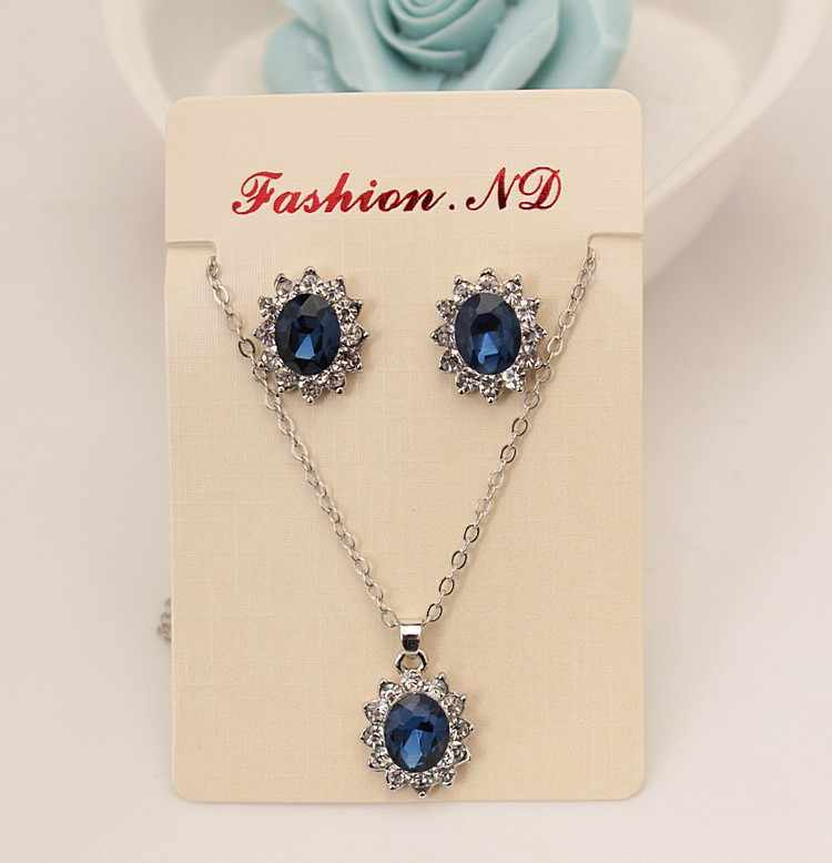 New Luxury Blue Royal Princess With Inlaid Imitation Gemstone Crystal Necklace Earrings Set Female Bride Set Party Jewelry High