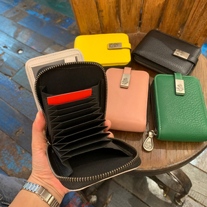 Sunbird Multicolor Fashion ID/Credit Card Holder Women Soft Wallet with Zipper 100% Genuine Leather Femal Purse
