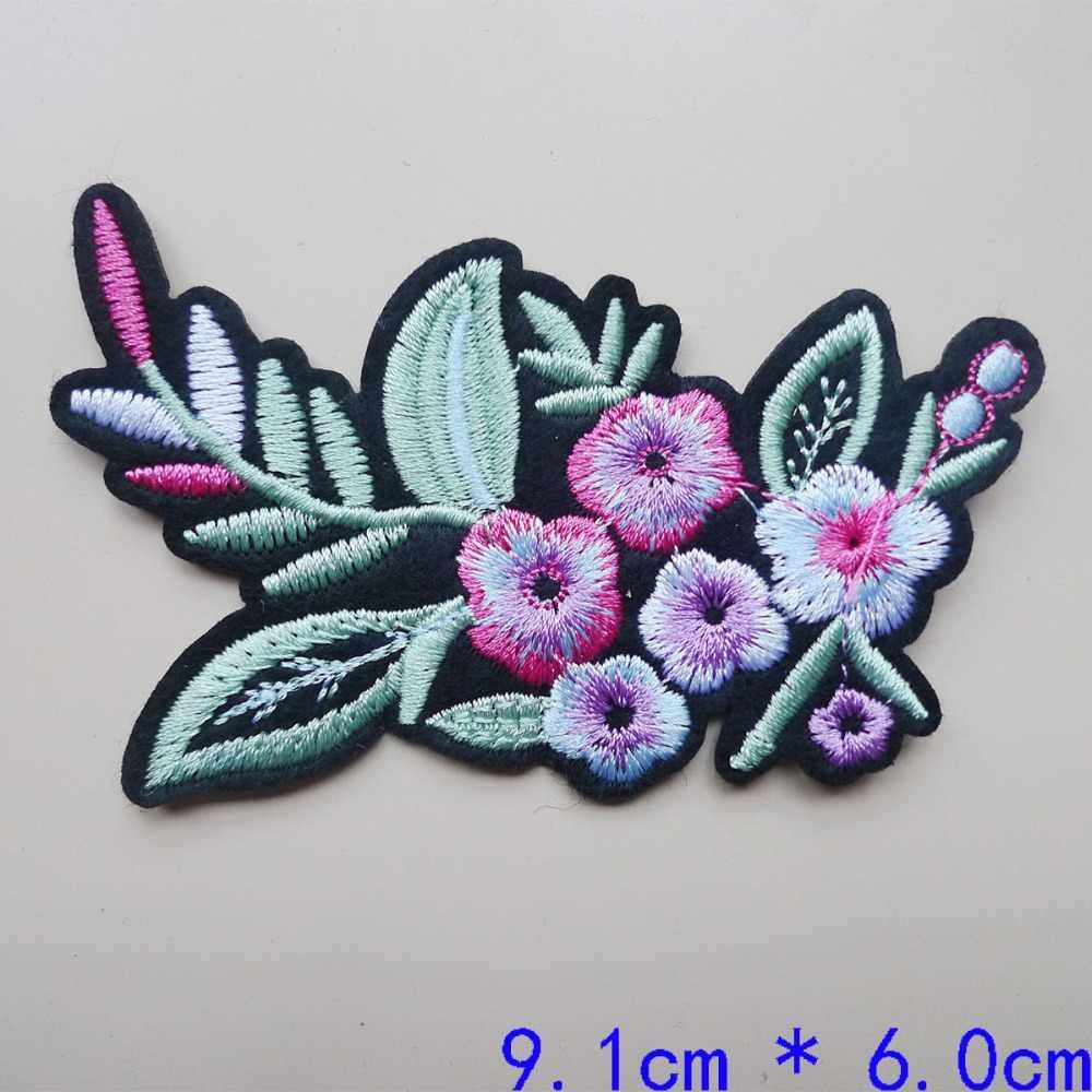 Rose fleur brodé fer sur patchs pour vêtements bricolage rayures Jeans chapeau autocollant appliqué broderie Badges couture décoration