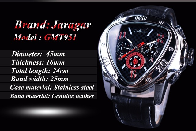Jaragar Men's Sport Racing Geometric Triangle Design Automatic Watches 2