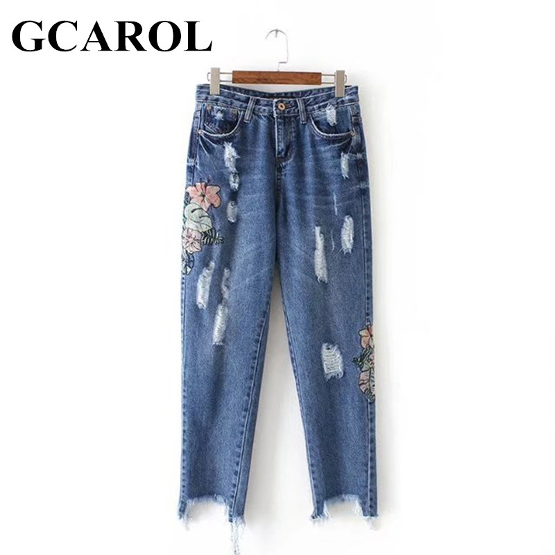 GCAROL 2017 Women Embroidery Floral Denim Jeans Ripped Design High Quality Euro Style Ankle-Length Jeans Pants XL For Ladies 2017 spring new women sweet floral embroidery pastoralism denim jeans pockets ankle length pants ladies casual trouse top118