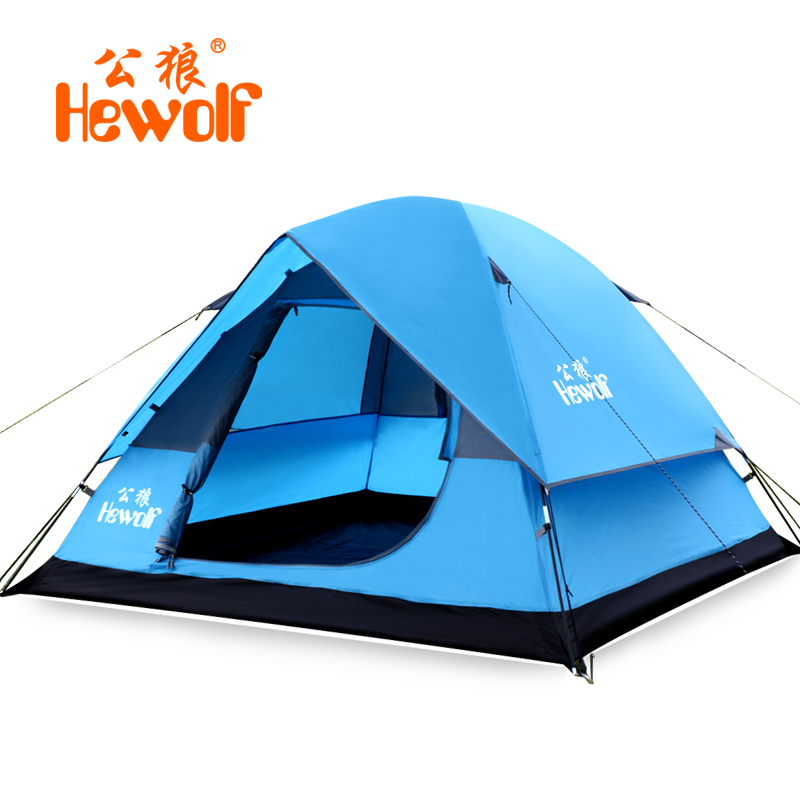 Waterproof 4 Person Outdoor Camping Hiking Beach Awning Canvas Tent Tourism Portable Durable Foldable Double Layer Tente HW30 high quality outdoor 2 person camping tent double layer aluminum rod ultralight tent with snow skirt oneroad windsnow 2 plus