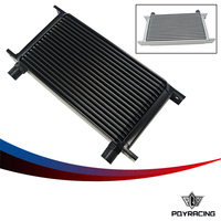 PQY RACING- New Style 19 ROW AN- 10AN UNIVERSAL ENGINE TRANSMISSION OIL COOLER SILVER,BLACK PQY7019-2