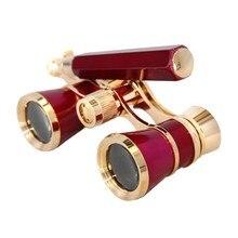 Red 3×25 Classic Foldable Binocular Telescope Opera Binoculars Theater Glasses Chain Handle Coating Glasses Lens