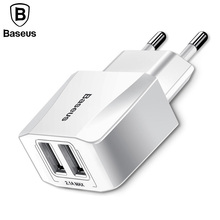 Dual USB Charger, Mobile Phone EU Charger Plug Travel Wall Charger Adapter