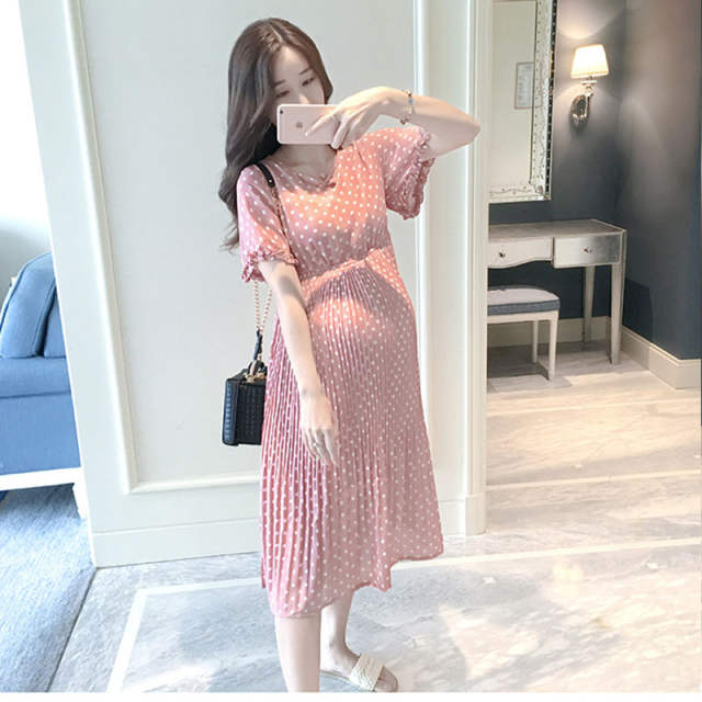 3eb8539881 Online Shop BONJEAN Pregnant Women Midi Pleated Chiffon Dress Pink Polka  Dots Summer Pregnancy Clothes Loose Plus Size Maternity Dresses