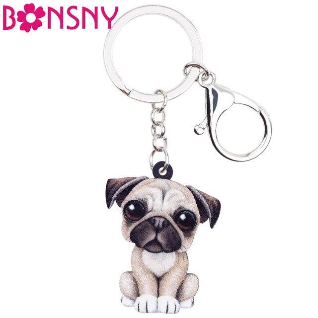 Bonsny Acrylic Cartoon Lovely French Bulldog Pug Dog Key Chains Keyrings Jewelry For Women Girl Ladies Handbag Charms Kids Gift
