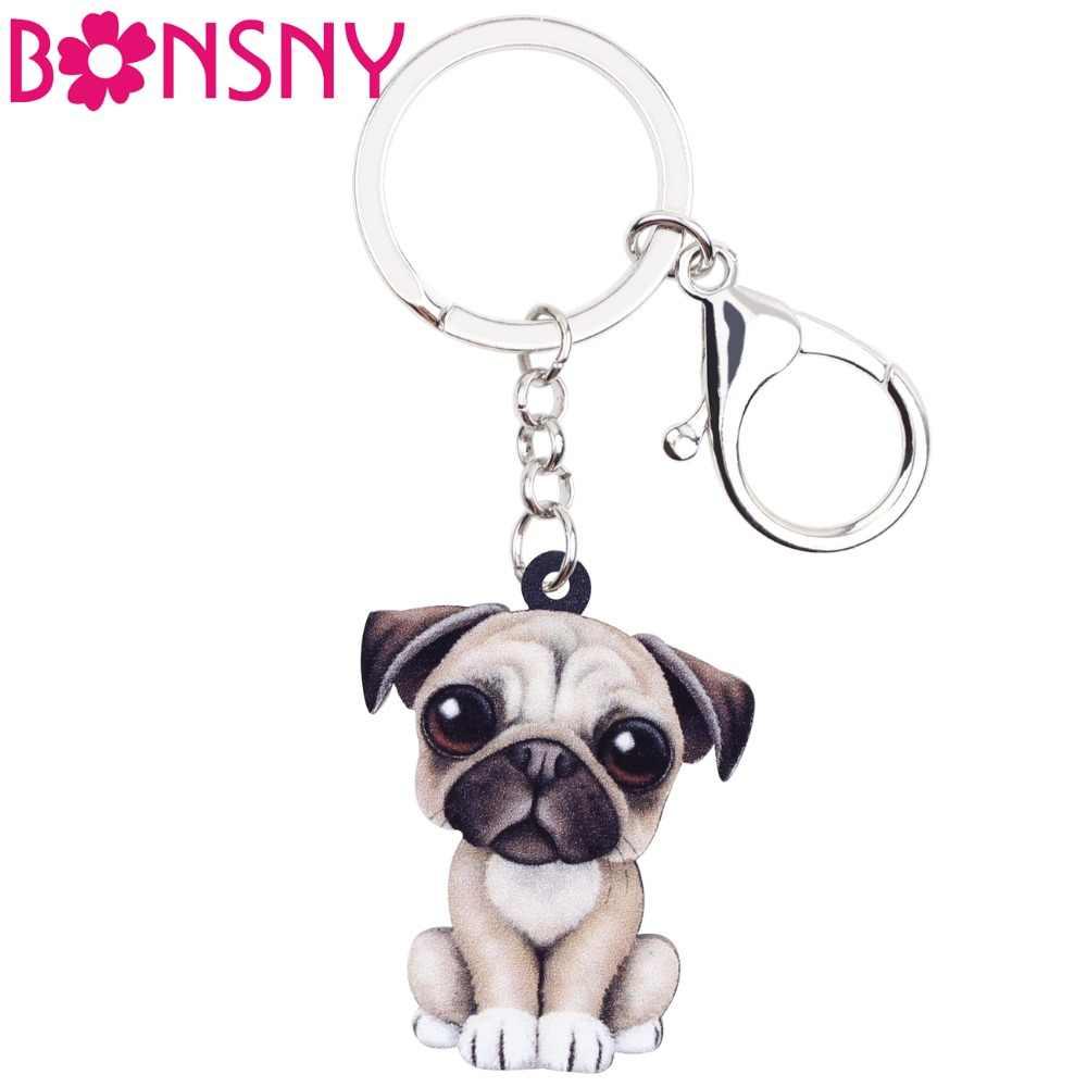 3b0b25db9ae Bonsny Acrylic Cartoon Lovely French Bulldog Pug Dog Key Chains Keyrings  Jewelry For Women Girl Ladies