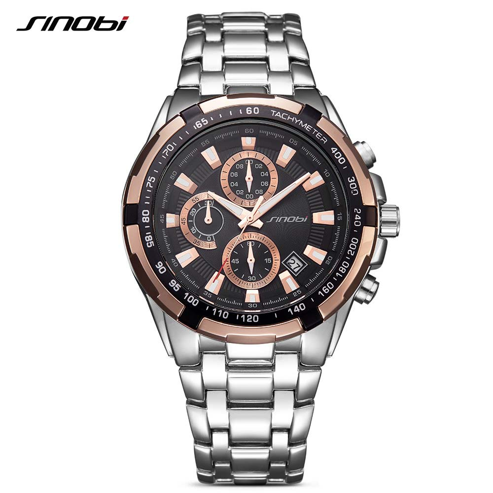 SINOBI Luxury Brand Watch Clock Men Stainless Steel Watchband Strap Man's Quartz Wristwatch Time Relogio Masculino цена