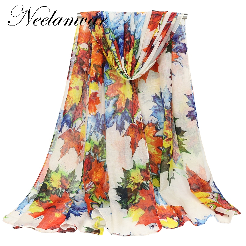 New Bohemia Style Bandana Spring Autumn winter Oversized   Scarf   and   Wrap   for Women maple leaf print Casual Travel Beach Shawls