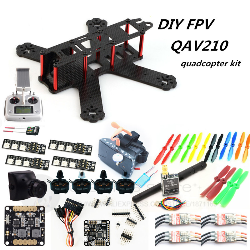 DIY FPV mini drone QAV210 quadcopter kit D2204 2300+ Red Hawk BL20A ESC + NAZE32 10DOF + 700TVL camera + Video goggles + FS-I6S diy mini drone red hawk qav r pure carbon 4x2x2 frame kit dx 2205 bl20a esc opto naze32 rev6 10dof cc3d fpv camera