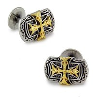 SPARTA White Gold Electroplated Double cross Cufflinks men's Cuff Links + Free Shipping !!! metal buttons