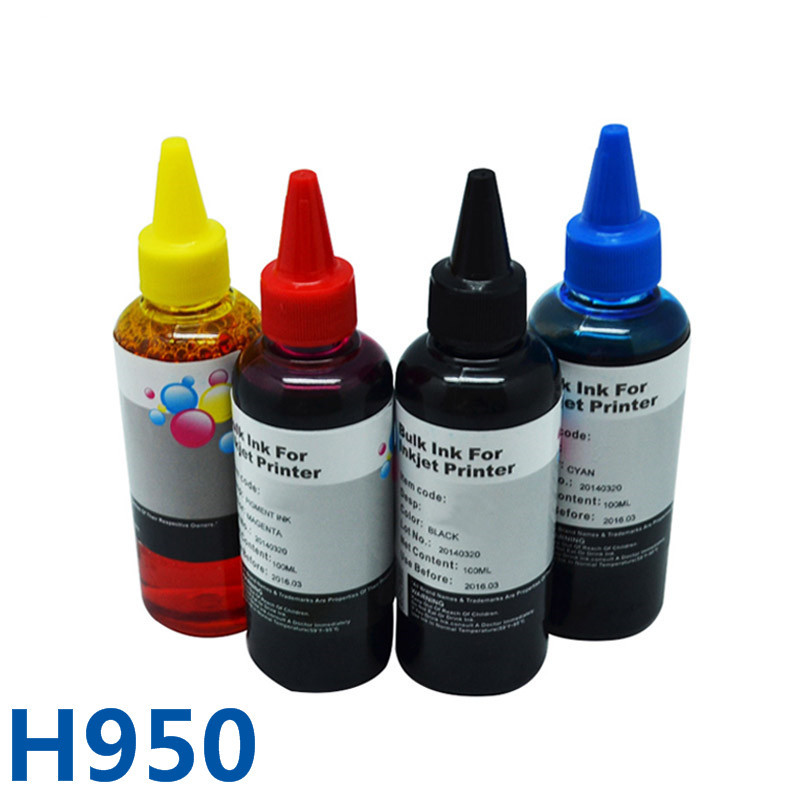 4*100ml For HP950 Hot Sale Optional Color Bulk Printer Dye Ink For HP Officejet 8610/8620/8630/8640/8660/8615/251DW/276DW