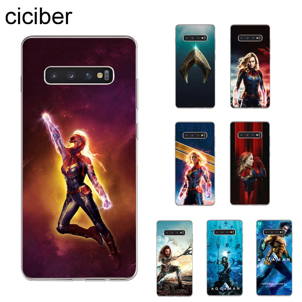 ciciber Aquaman Captain Marvel Cover For Samsung Galaxy S9 S8 S7 S6 S5 S10+ S10e Lite Edge Plus mini Phone Cases Soft TPU Shell