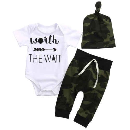 Одежда в армейском стиле «Wait» зеленого цвета комплект из 3 предметов для маленьких мальчиков и девочек, комбинезон, топы + длинные штаны + шапка, одежда для мальчиков