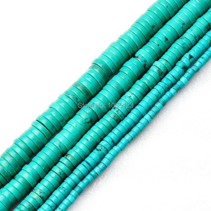Freies Ziemlich 3x4,6, 8,10, 12mm Münze Rondelle Form Blau Türkisen Verkrustete Edelstein Lose Perlen Strang 15